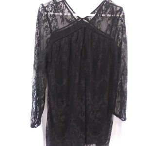 XHILARATION WOMENS BLACK LACE LINEN DRESS XL